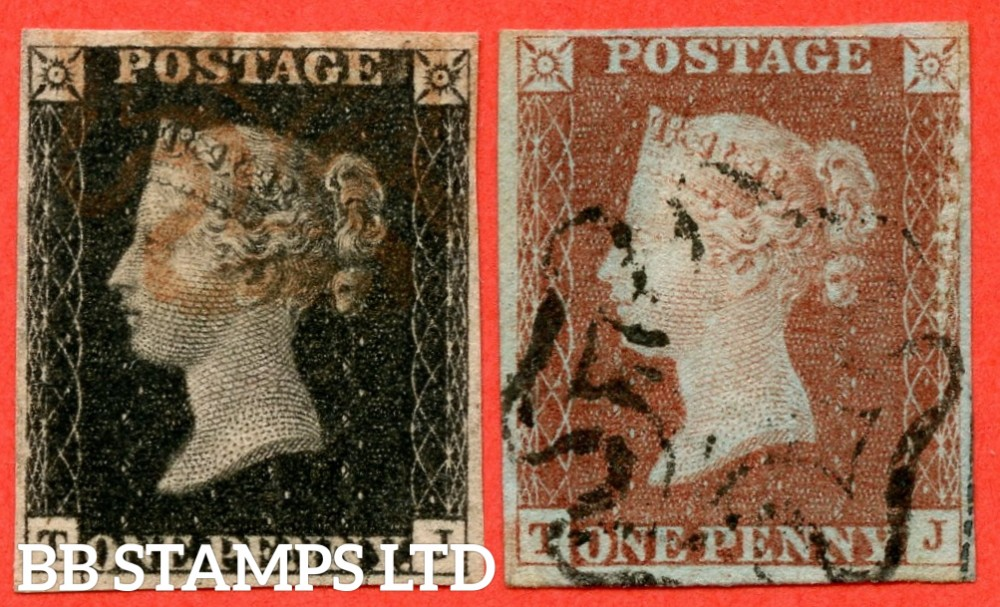 "SG. 2bb & 7. A1 (2) f & A2. AS46 a & AS47 a. "" TJ "". 1d black. State 1. Plate 8. A fine used matched pair with the listed "" Re-entries "" variety."