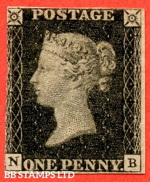 """SG. 2. A1 (2). AS46. """" NB """". 1d black. Plate 8. A mounted mint example."""