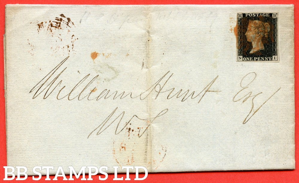 """SG. 2 c. A1 (2) h. AS46. """" NI """". 1d black. Plate 8. A fine used example on cover used in EDINBURGH dated 3rd February 1841. With the listed """" Vertical guide line NE square """" variety. Also """" Bottom line extends right """" variety."""