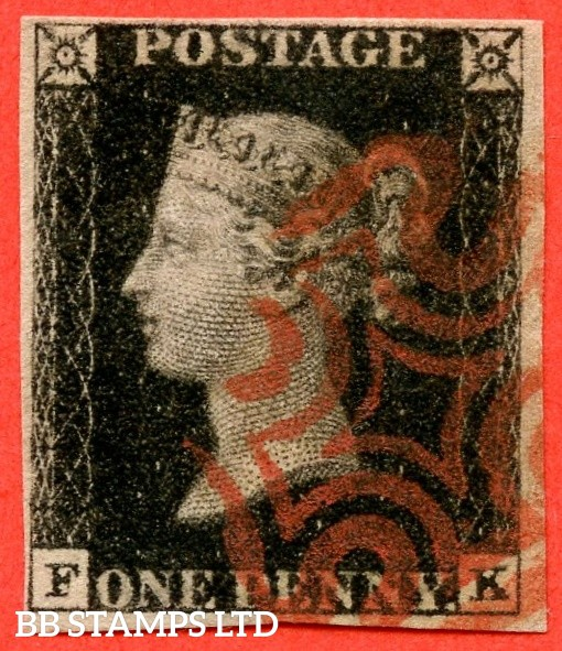 "SG. 1. A1 (1). AS46. "" FK "". 1d intense black. Plate 8. A very fine used example cancelled by a red maltese cross with the "" ' O ' flaw "" variety. With a lovely clear profile."