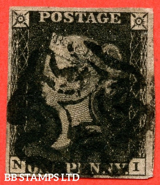 "SG. 2 c. A1 (2) h. AS46. "" NI "". 1d black. Plate 8. A good used example cancelled by a black maltese cross. With the listed "" Vertical guide line NE square. "" variety. Also "" ' O ' flaw "" variety."