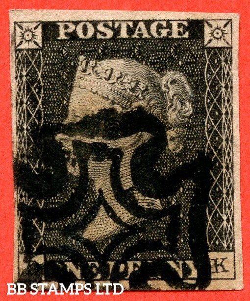 "SG. 2. A1 (2). AS50. "" DK "". 1d black. Plate 8. "" Provisional repair "". State 2. A fine used example with the "" No ' O ' flaw "" variety. A RARE stamp in this grade."