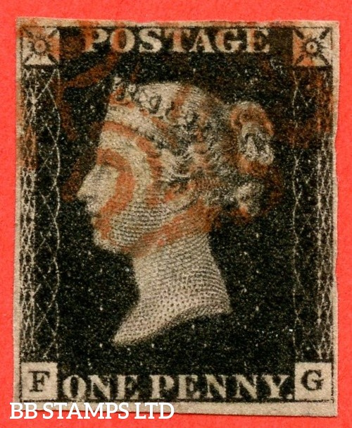 """SG. 2 c. A1 (2) h. AS46. """" FG """". 1d black. Plate 8. A fine used example cancelled by a red maltese cross. With the listed """" Horizontal guide lines SW & SW squares """" variety. Also """" ' O ' flaw """" variety."""