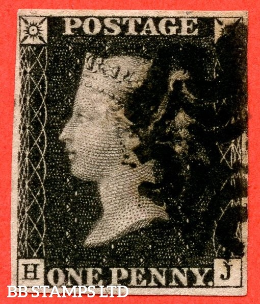 """SG. 2. A1 (2). AS46. """" HJ """". 1d black. Plate 8. A fine used example cancelled by a black maltese cross with the """" ' O ' flaw and bottom line extends right """" varieties. With a lovely clear profile."""