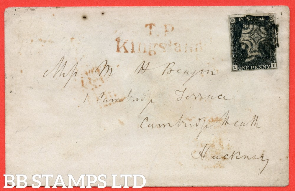 """SG. 2 c & d. A1 (2) h & i. AS46. """" LI """". 1d black. Plate 8. A fine used example used on cover to LONDON dated 27th February 1841. With the listed """" Vertical guide line NE square and horizontal guide line through value """" varieties."""