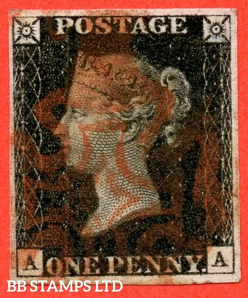 """SG. 2 c. A1 (2) h. AS46. """" AA """". 1d black. Plate 8. A fine used example cancelled by a red maltese cross. With the listed variety """" Vertical guide line NE sq. """". Also """" ' O ' flaw and dot on top margin above ' S ' of ' POSTAGE ' """" varieties."""