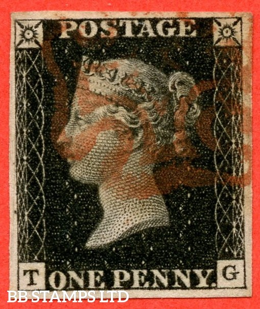 "SG. 2. A1 (2). AS46. "" TG "". 1d black. Plate 8. State 1. A fine used example cancelled by a red maltese cross. With the "" Stage 1 ' O ' flaw and dot in left margin touching side line "" varieties."
