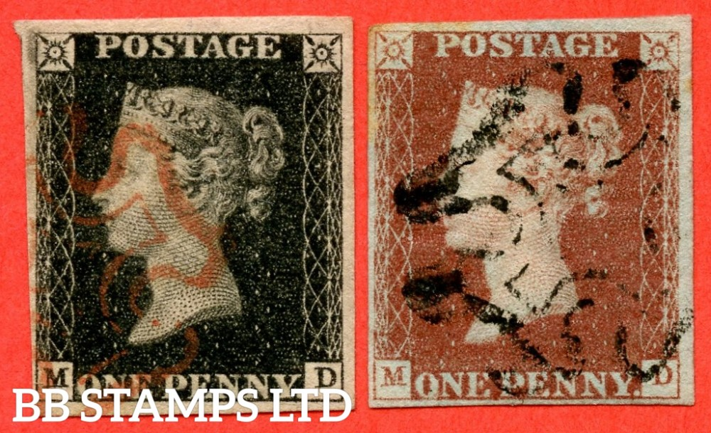 """SG. 2 & 7. A1 (2) & A2. AS56 & AS57. """" MD """". Plate 9. A fine used matched pair both with the """" ' O ' flaw """" variety."""