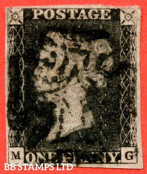 """SG. 2 c. A1 (2) h. AS56. """" MG """". 1d black. Plate 9. A good used example cancelled by a black maltese cross with the listed variety """" Vertical guide lines SE & SE squares """". Also """" ' O ' flaw """" variety."""