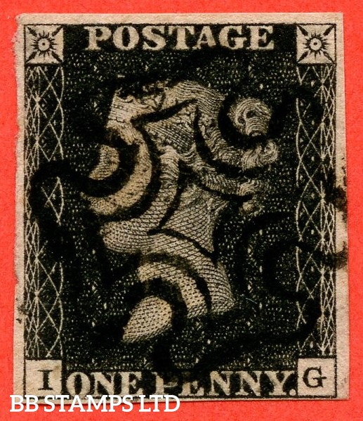 "SG. 2. A1 (2). AS56. "" IG "". Plate 9. A very fine used example cancelled by a black maltese cross with the "" ' O ' flaw "" variety."