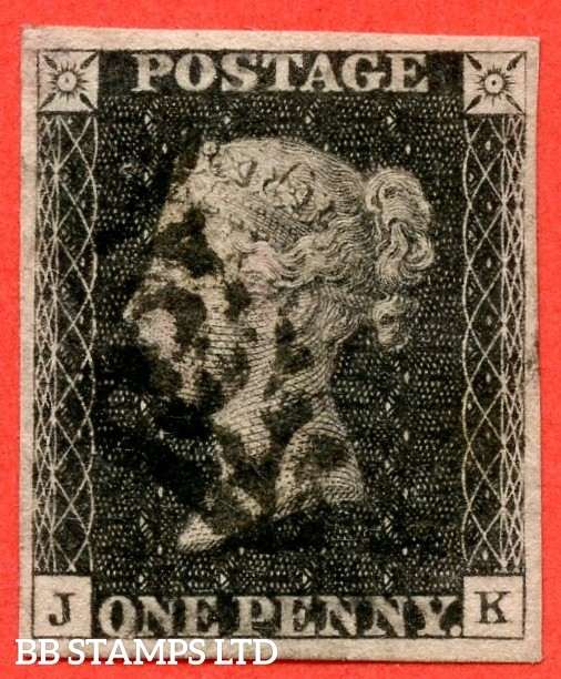 """SG. 2 d. A1 (2) i. AS56. """" JK """". 1d black. Plate 9. A fine used example cancelled by a black maltese cross with the listed """" Horizontal guide line through value """" variety. Also """" ' O ' flaw """" variety."""
