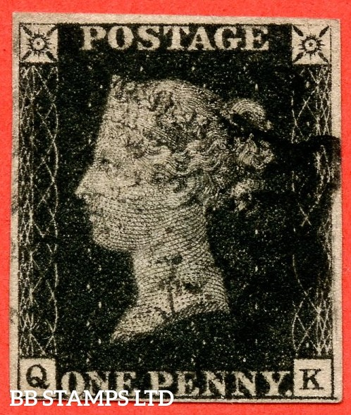 """SG. 2. A1 (2). AS56. """" QK """". Plate 9. A good used example cancelled by a black maltese cross with the """" ' O ' flaw and bottom line extends right """" varieties."""
