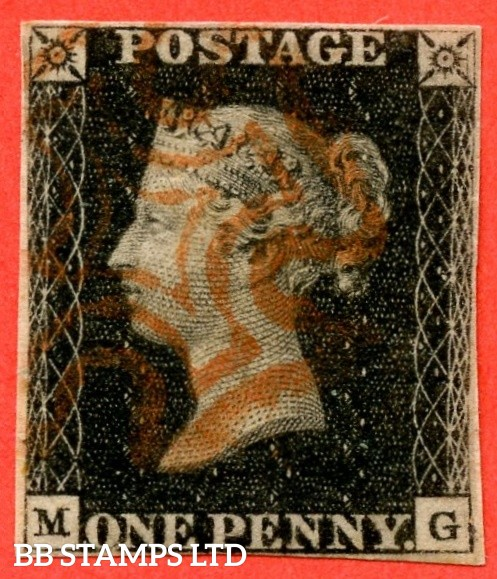 """SG. 2 c. A1 (2) h. AS56. """" MG """". 1d black. Plate 9. A good used example cancelled by a red maltese cross with the listed variety """" Vertical guide lines SE & SE squares """". Also """" ' O ' flaw """" variety."""