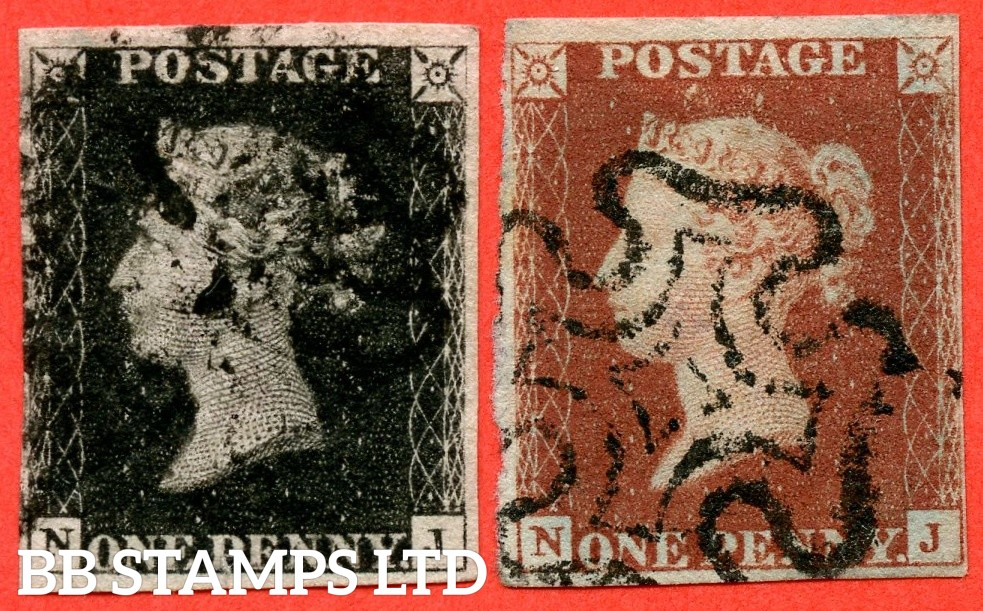 """SG. 2 d & 7. A1 (2) I & A2. AS56 & AS57. """" NJ """". 1d black. Plate 9. A good used matched pair both with the listed """" Horizontal guide line through value """" variety. Also """" ' O ' flaw """" variety."""