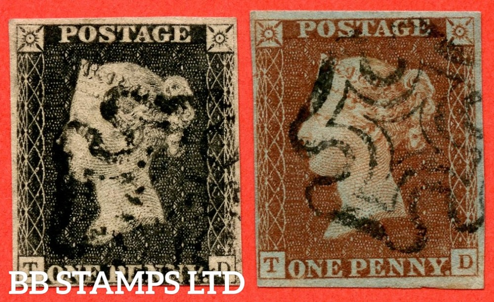 "SG. 3 c & 7. A1 (3) h & A2. AS56 & AS57. "" TD "". Plate 9. A fine used matched pair both with the listed variety "" Vertical guide line NE sq. "" and constant "" ' O ' flaw "" variety."