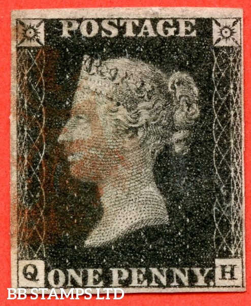 "SG. 2. A1 (2). AS66 h. "" QH "". 1d black. Plate 10. A fine used example cancelled by a RED maltese cross. With the "" ' O ' flaw and bottom line extends right "" varieties."