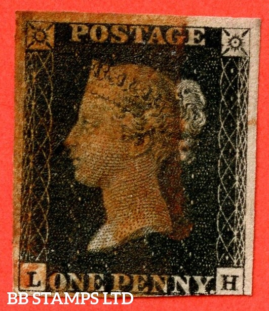"SG. 2. A1 (2). AS66 h. "" LH "". 1d black. Plate 10. A good used example cancelled by a RED maltese cross. With the "" ' O ' flaw "" variety."