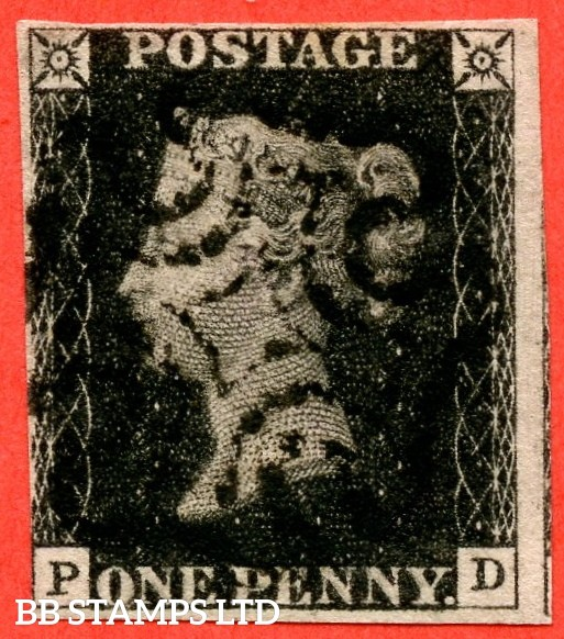 "SG. 2. A1 (2). AS66. "" PD "". 1d black. Plate 10. A fine used example cancelled by a black maltese cross. With the "" ' O ' flaw "" variety."