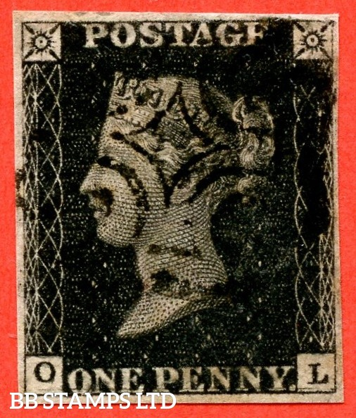 """SG. 2 d. A1 (2) i. AS66. """" OL """". 1d black. Plate 10. A fine used example cancelled by a black maltese cross. With the listed variety """" Horizontal guide line through value """" and constant """" ' O ' flaw and guide dot SE sq. """" varieties."""