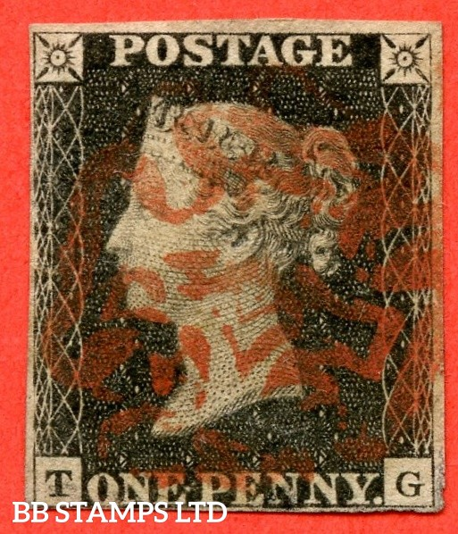 "SG. 2. A1 (2). AS66 h. "" TG "". 1d black. Plate 10. A fine used example cancelled by a RED maltese cross. With the "" ' O ' flaw "" variety."
