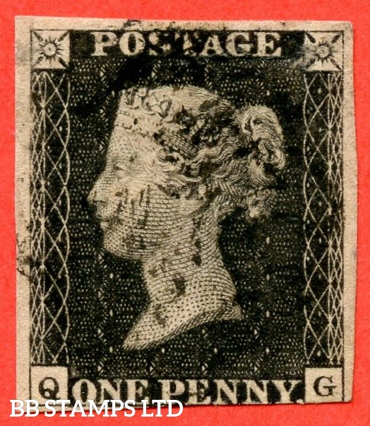 """SG. 2. A1 (2). AS66. """" QG """". 1d black. Plate 10. A very fine used example cancelled by a black maltese cross. With the """" ' O ' flaw """" variety."""