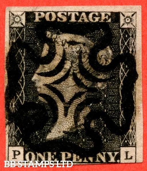 """SG. 2 c. A1 (2) h. AS66. """" PL """". 1d black. Plate 10. A very fine used example cancelled by a black maltese cross. With the listed variety """" Vertical guide line NE square """". Also """" ' O ' flaw """" variety."""