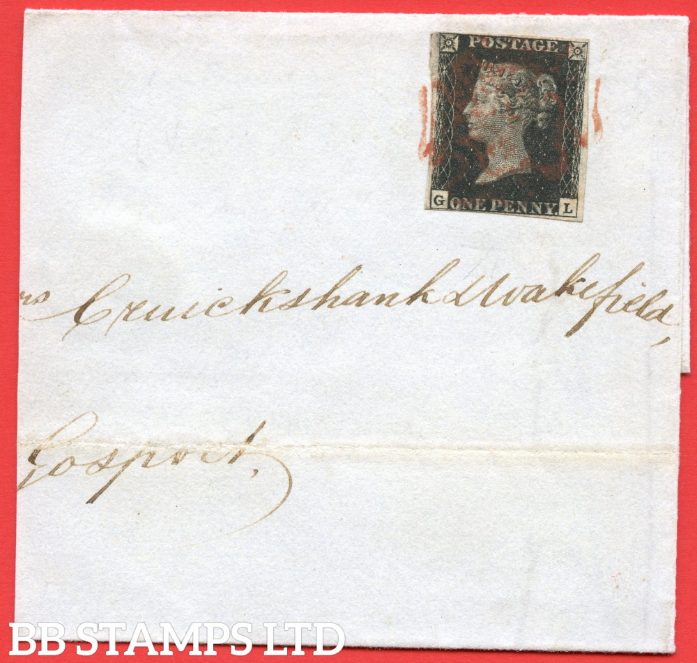 "SG. 2c. A1 (2)h. AS66h. "" GL "". 1d black. Plate 10. A fine used example cancelled by a RED maltese cross on part cover to GOSPORT dated 8th July 1841. A LATE USE of the red maltese cross."
