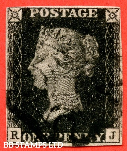 "SG. 2 c. A1 (2) h. AS66 c. "" RJ "". 1d black. Plate 10. A fine used example cancelled by a black maltese cross with the listed "" ' P ' converted to ' R ' and vertical guide line NE square "" varieties. Also "" ' O ' flaw and ' J ' flaw "" varieties."