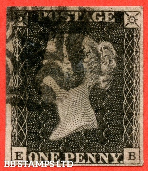 "SG. 3. A1 (3). AS67. "" EE "". 1d grey black ( worn plate ). Plate 10. A very fine used example cancelled by a black maltese cross. With the constant variety "" ' O ' flaw ""."