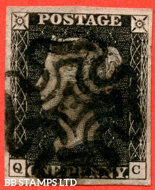 "SG. 3 c. A1 (3) h. AS67. "" QC "". 1d grey black ( worn plate ). Plate 10. A good used example cancelled by a black maltese cross. With the listed "" Vertical guide line NE sq. "". Also "" ' O ' flaw and tail of ' Q ' thin "" varieties."