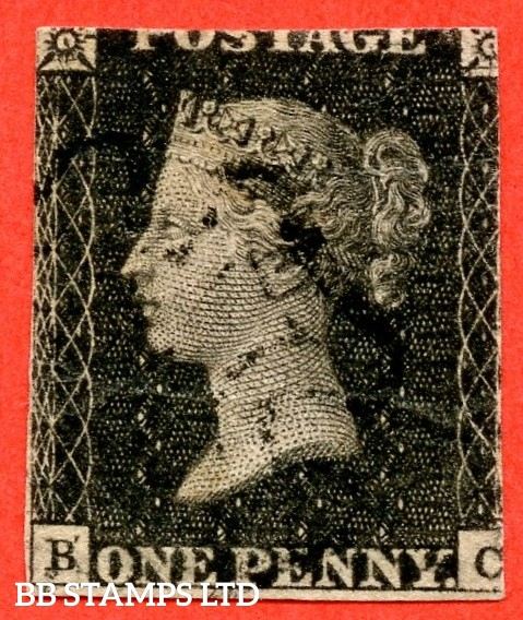 """SG. 3. A1 (3) f. AS72 a. """" BC """". 1d greyish - black. Plate ELEVEN. A good used example of this the scarcest of the Penny Black plates with the listed """" Strong re-entry upper corner squares and SW Corner. Both inscriptions with duplication """"."""
