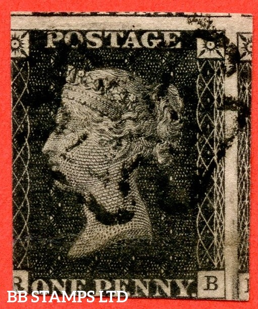 """SG. 2. A1 (2). AS73. """" RB """". 1d black. Plate ELEVEN. A fine used example with the """" Ray flaw 7 NE square """" variety."""