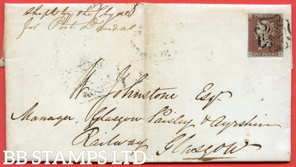"""SG. 7. A2. AS6. """" PE """". 1d red brown. Plate 1b. A good used example on cover from DUNDEE to GLASGOW dated 30th July 1841."""