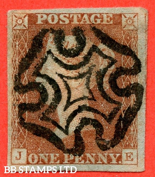 """SG. 7. A2. AS18 f. """" JE """". 1d red brown. Plate 2. A fine used example cancelled by a black maltese cross. With the listed """" Without ray flaws """" variety. Also """" Right side lines extends below """" variety."""