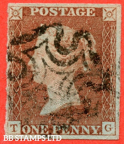 """SG. 7. A2. AS51. """" TG """". Plate 8. 1d red brown. State 2. A fine used example cancelled by a black maltese cross with the """" Right side line stronger. ' G ' thinned and dot in left margin touching left side line level with neck """" variety."""