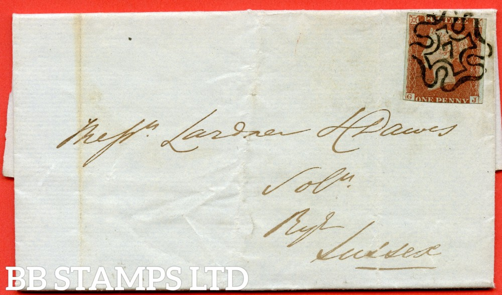 """SG. 8m. B1 (1)ug. BS23. """" GJ """". 1d red - brown. """" 7 """" in maltese cross. Plate 34. A very fine used example used on cover from LONDON to RYE dated 23rd December 1843 """". With the """" 1842 /3 ray flaws """" variety."""
