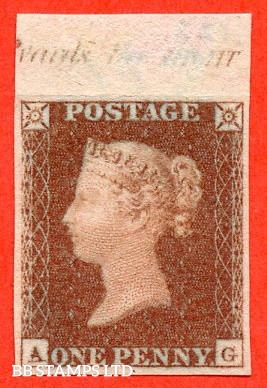 "SG. 8. B1 (1). BS32. "" AG "". 1d red brown. Plate 123. A very fine top margin inscriptional IMPRIMATUR."