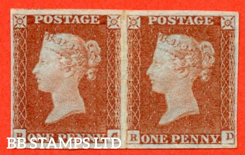 """SG. 8. B1 (1). BS29. """" RC RD """". 1d red brown. Plate 80. A very fine UNMOUNTED MINT horizontal pair complete with BRANDON certificate."""