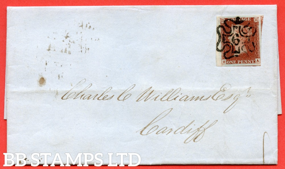 "SG. 8m. B1 (1) uf. BS26F. "" EA "". 1d red - brown. Plate 43.  "" 6 "" in maltese cross. A very fine used example on cover from LONDON to CARDIFF dated 30th April 1844."