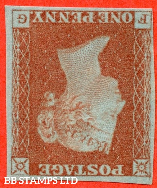 """SG. 8 wi. B1 (1) c. BS28. """" FG """". 1d red brown. Plate 72. INVERTED WATERMARK. A superb lightly mounted mint example. A RARE stamp in fine mint condition."""