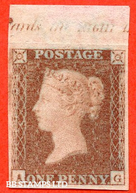 "SG. 8. B1 (1). BS32. "" AG "". 1d red brown. Plate 124. A very fine top margin inscriptional IMPRIMATUR."