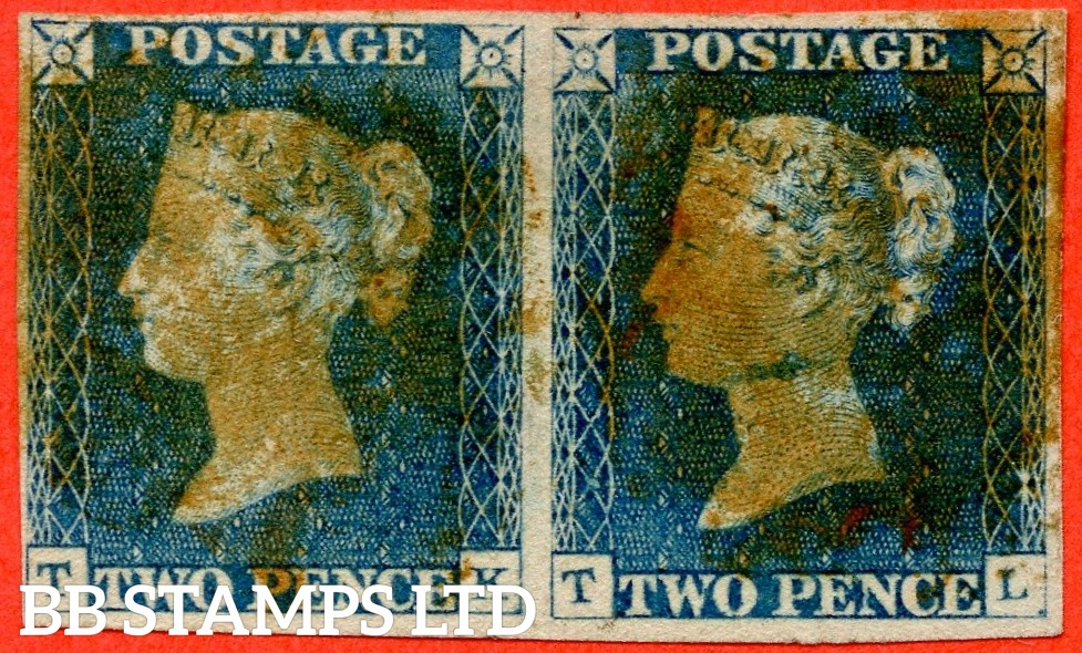"""SG. 5 b. D1 (2) ua. DS5 e. """" TK TL """". 2d blue. Plate 1. A good used horizontal pair ' TK ' with the listed variety """" Horizontal guide line in NW sq. """"."""