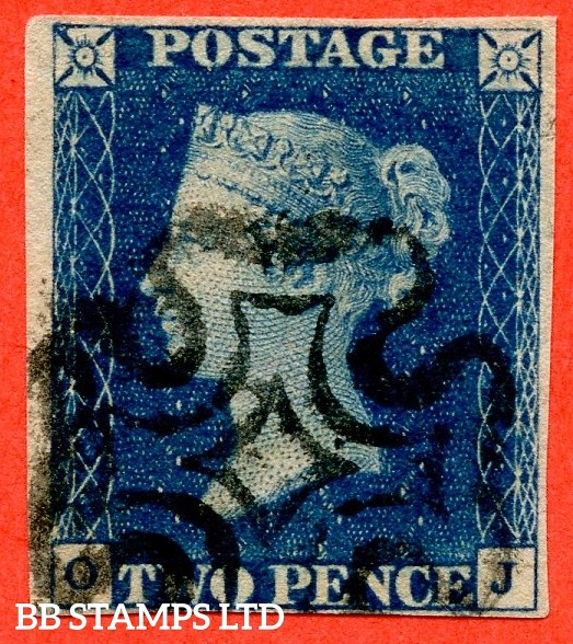 "SG. 5. D1 (2) uc. DS8. "" OJ "". 2d blue. Plate 2. A fine used example cancelled by a black maltese cross."