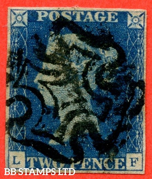 """SG. 5. D1 (2) uc. DS8. """" LF """". 2d blue. Plate 2. A good used example cancelled by a black maltese cross."""