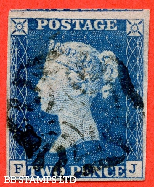 "SG. 5. D1 (2) uc. DS5. "" FJ "". 2d blue. Plate 1. A fine used example with the "" Ray flaws 10 11 & 2 NE square and faint vertical guide line NE square "" varieties."