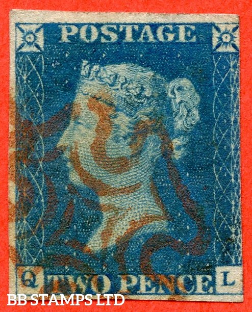"SG. 5. D1 (2) ua. DS5. "" QL "". 2d blue. Plate 1. A very fine used example with the "" Ray flaws 2 10 & 11 NE square "" variety."