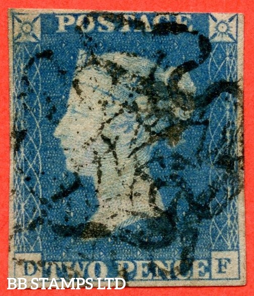 """SG. 6. D1 (3) uc. DS9. """" DF """". 2d pale blue. Plate 2. A good used example cancelled by a black maltese cross."""
