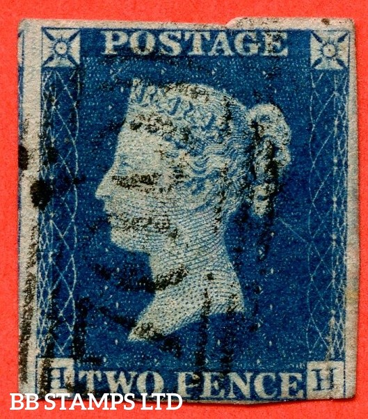 """SG. 5 i. D1 (2) xc. DS5. """" HH """". 2d blue. Plate 1. A fine used example cancelled by a """" 700 SHEFFIELD """" black 1844 cancel. Faults but still a good looking spacefiller."""