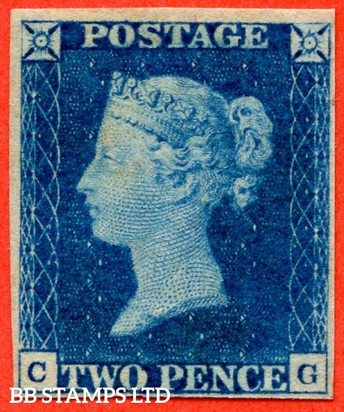 "SG. 4. D1 (1). DS1. "" CG "". 2d deep blue. Plate 1. A SUPERB lightly mounted mint example with lovely deep colour. Ex "" Lord Crawford "" collection and complete with BPA certificate. The finest SG. 4 we have handled in 32 years."