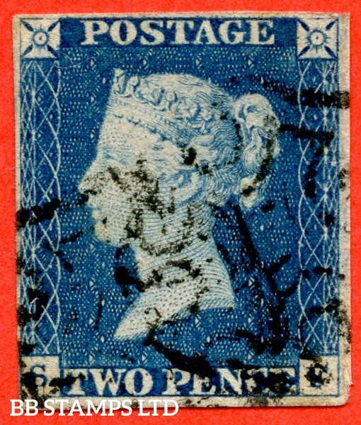 "SG. 5. D1 (2) uc. DS5. "" SF "". 2d blue. Plate 1. A good used example with the "" Ray flaws 2 10 11 & 12 NE square "" variety."